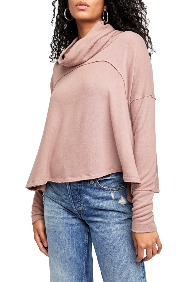 Women's Free People Cozy Time Funnel Neck Top, Size Medium - Brown