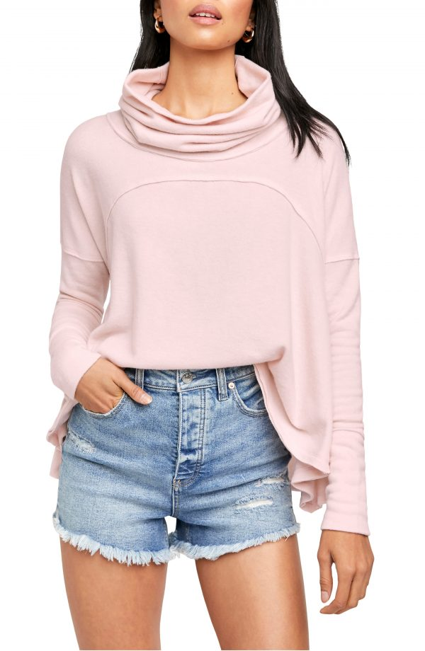Women's Free People Cozy Time Funnel Neck Top, Size X-Small - Pink