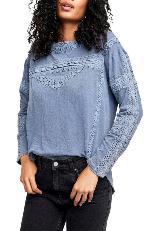 Women's Free People Crochet Long Sleeve Top, Size Small - Blue