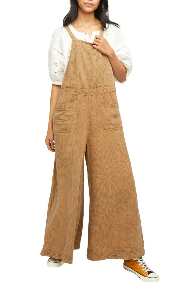 Women's Free People Cyprus Ave Overalls, Size X-Small - Brown