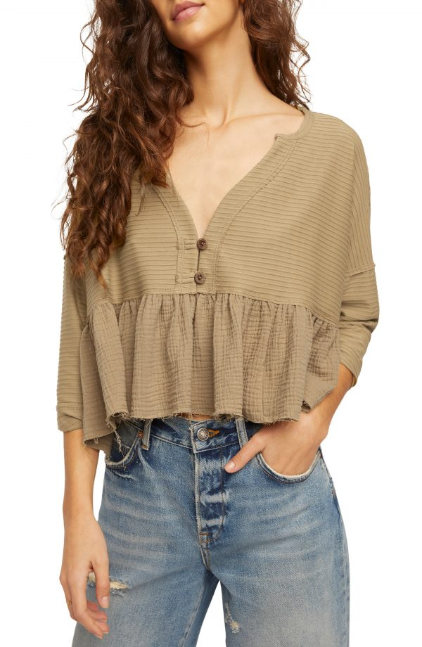 Women's Free People Dallas Crop Henley Top, Size Large - Brown