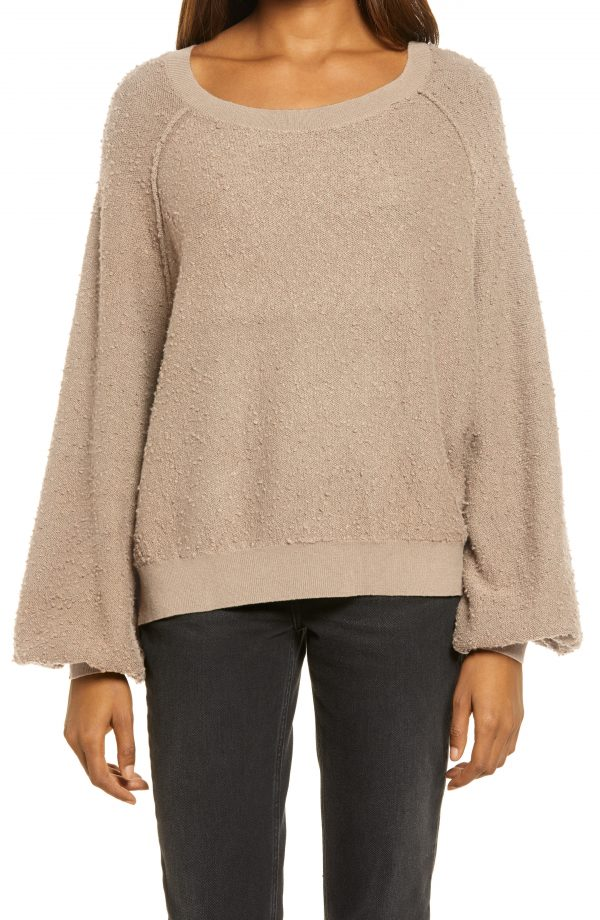 Women's Free People Found My Friend Boucle Pullover, Size Small - Grey
