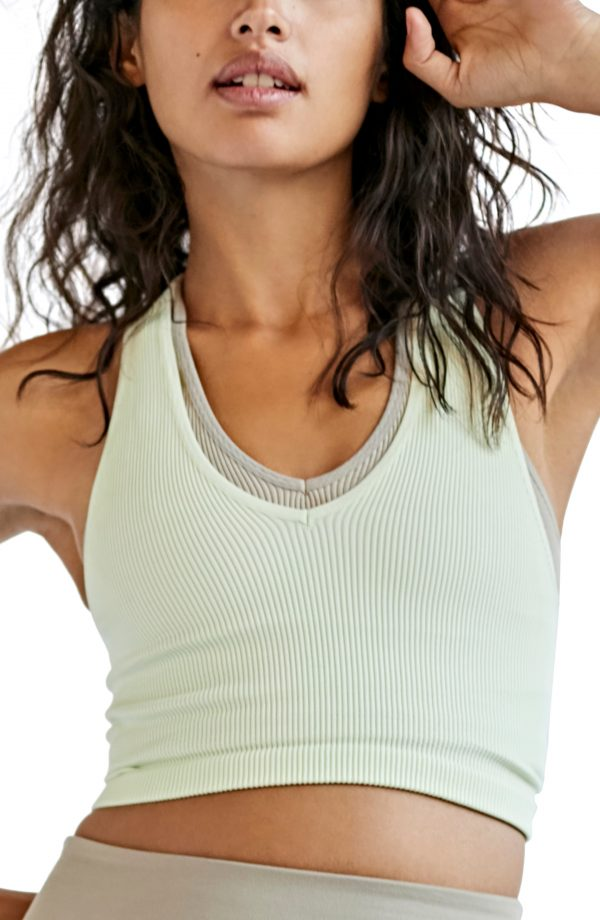 Women's Free People Fp Movement Free Throw Crop Tank, Size Small - Green