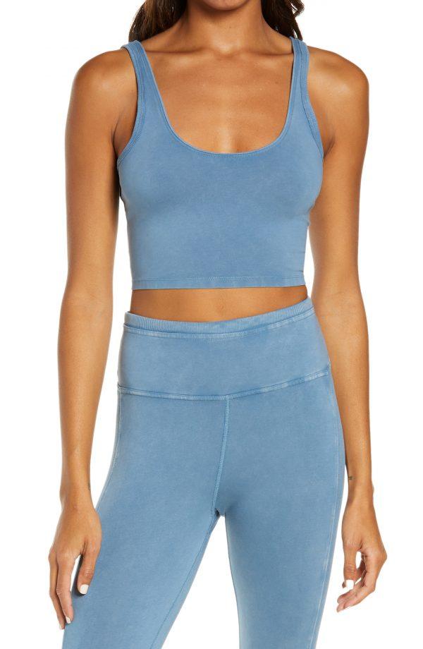 Women's Free People Fp Movement Hot Shot Crop Cami, Size Medium - Blue