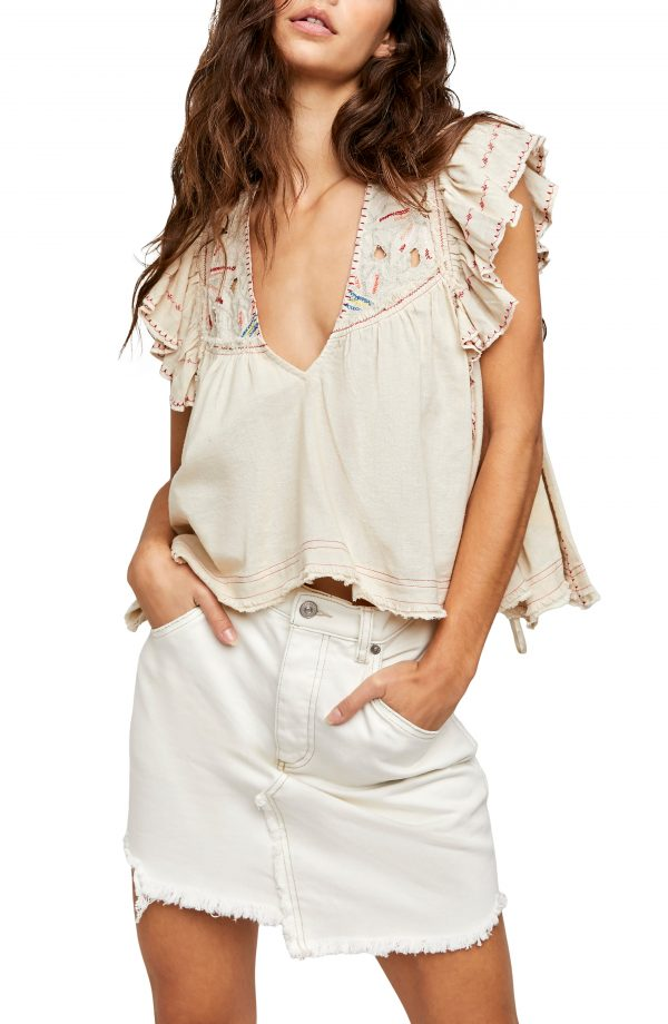 Women's Free People Hailey Embroidered Top, Size X-Small - Beige