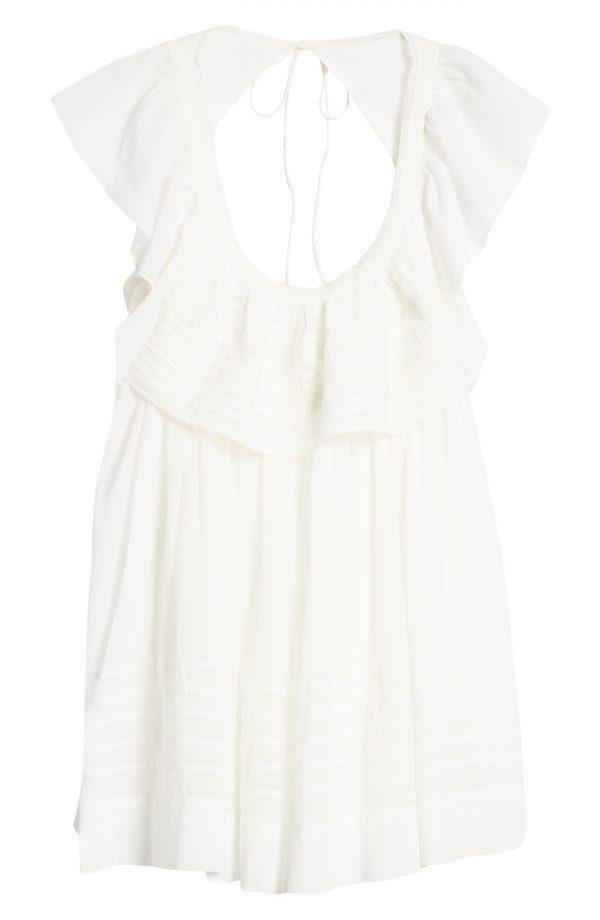 Women's Free People Hailey Ruffle Babydoll Minidress, Size X-Small - Ivory