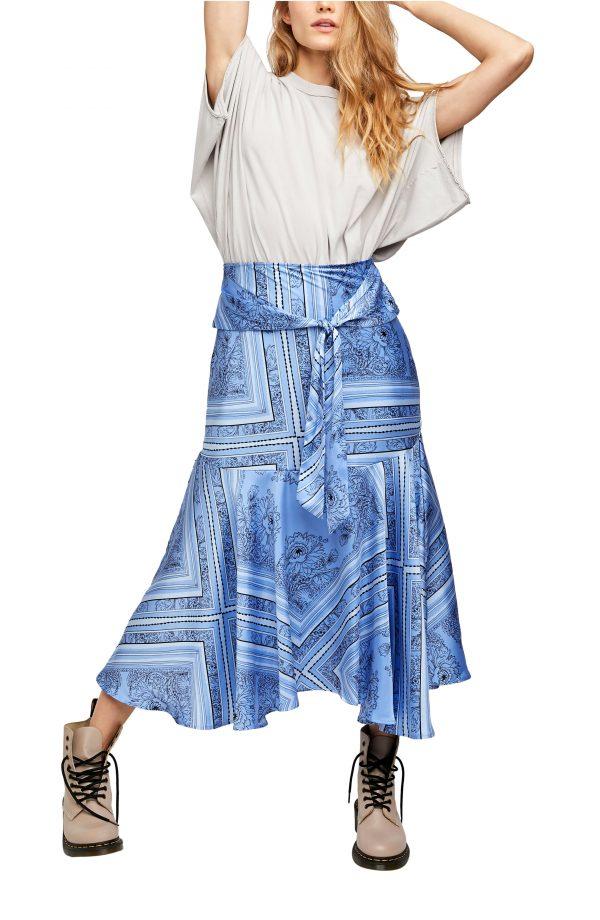 Women's Free People Hampton Tie Front Midi Skirt, Size X-Small - Blue