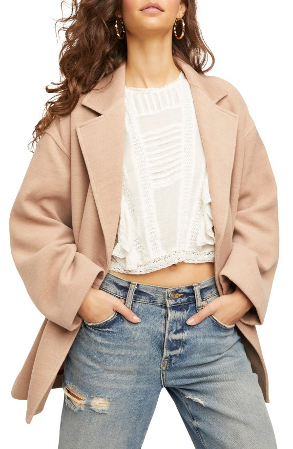 Women's Free People Hannah Slouchy Double Breasted Blazer, Size Small - Beige