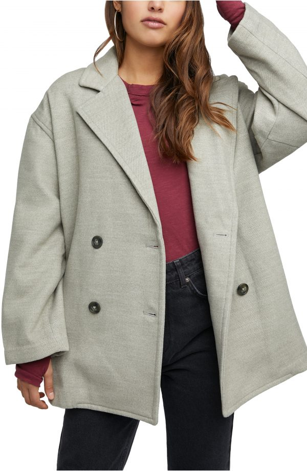 Women's Free People Hannah Slouchy Double Breasted Blazer, Size Small - Green