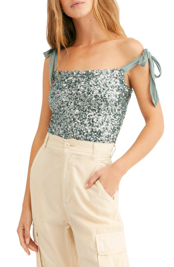 Women's Free People Hey Girl Tie Shoulder Sequin Camisole, Size X-Small - Blue