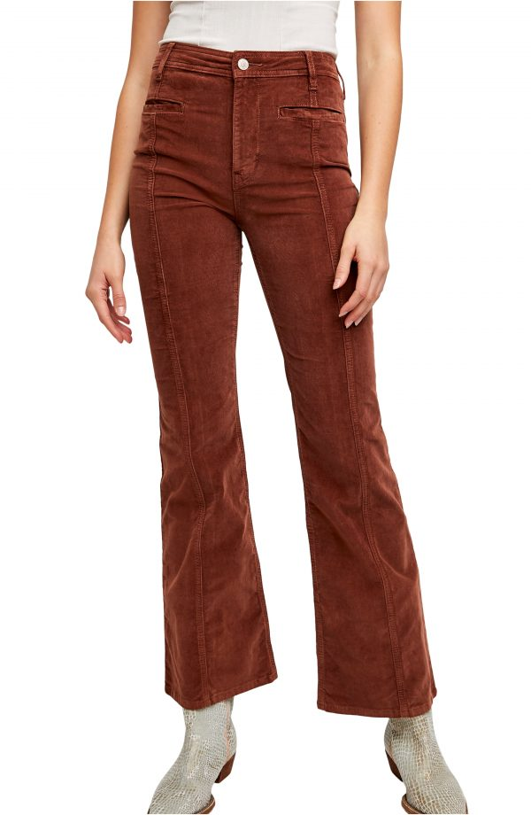 Women's Free People High Waist Corduroy Flare Leg Pants, Size 27 - Burgundy