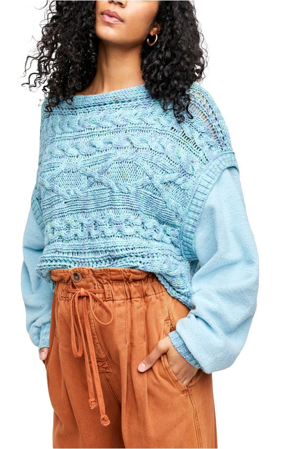 Women's Free People Honey Cable Pullover, Size Large - Blue