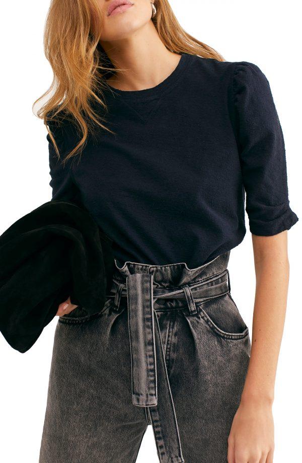 Women's Free People Just A Puff T-Shirt, Size Medium - Black