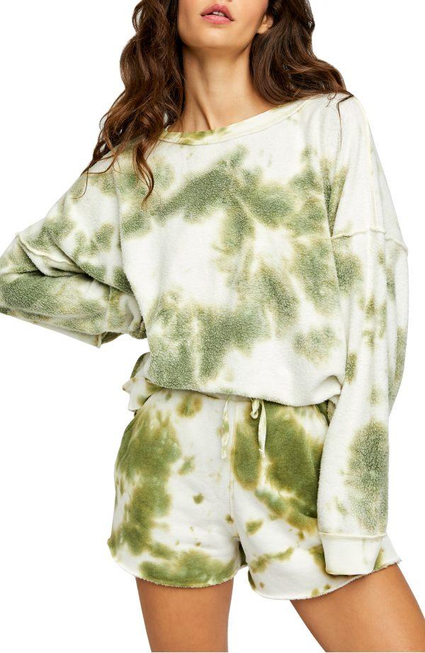 Women's Free People Kelly Washed Tie Dye Set, Size X-Small Regular - Green