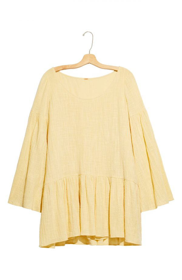 Women's Free People Kyleigh Woven Long Sleeve Minidress, Size X-Small - Yellow