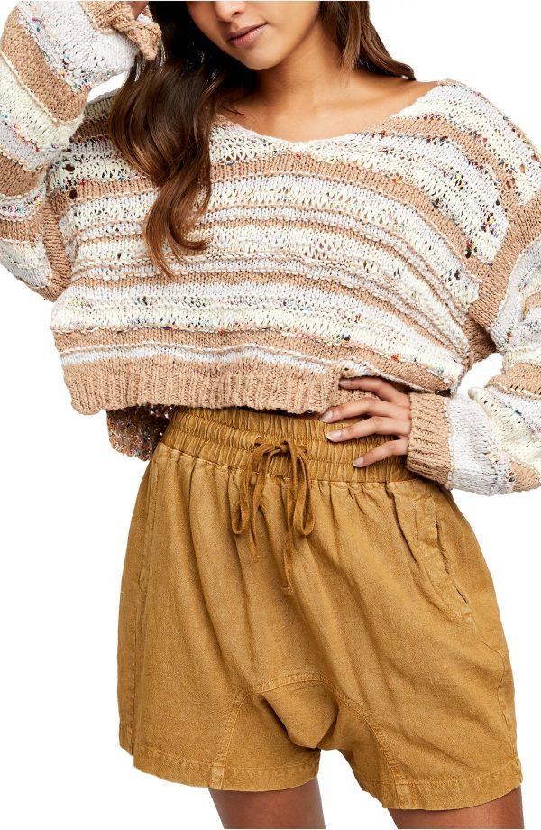 Women's Free People Lake Life Crop Sweater, Size X-Small - Brown