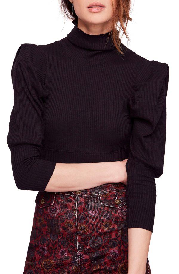 Women's Free People Lala Mock Neck Top, Size X-Small - Black