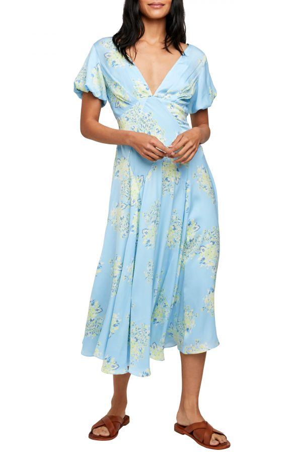 Women's Free People Laura Floral Maxi Dress, Size X-Small - Blue