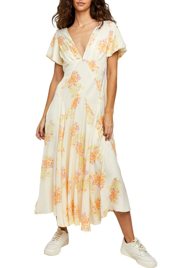 Women's Free People Laura Floral Maxi Dress, Size X-Small - White