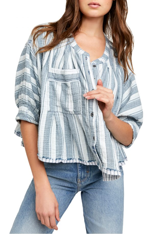 Women's Free People Lisbon Stripe Button-Up Shirt, Size X-Small - Blue