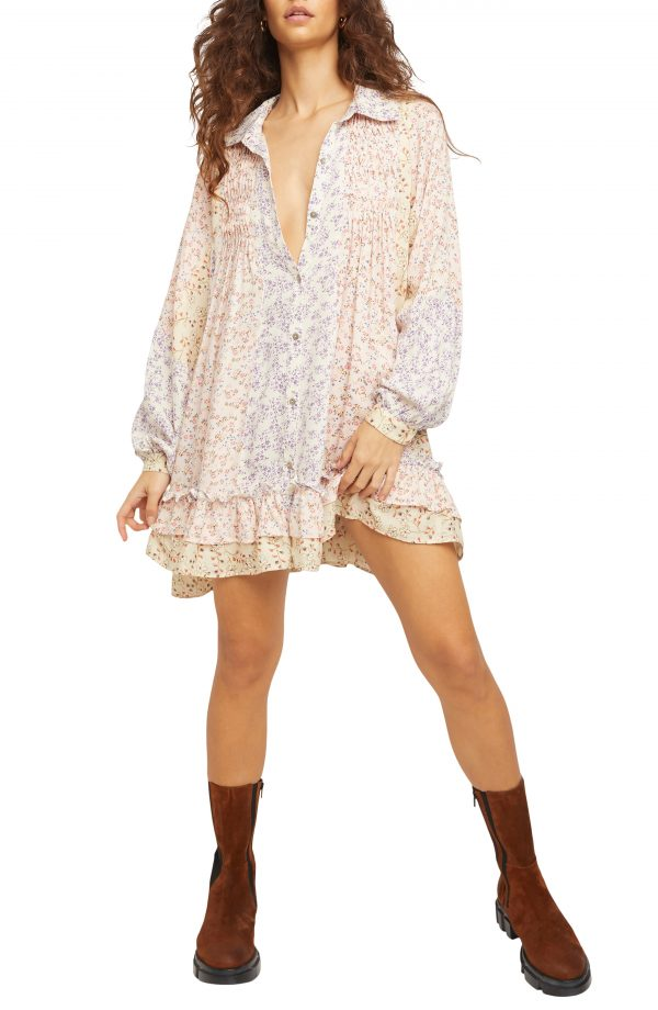 Women's Free People Lost In You Floral Ruffle Tunic, Size Small - White