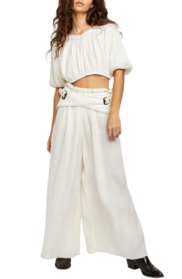Women's Free People Lou Lou Crop Top & Palazzo Pants, Size X-Small - White