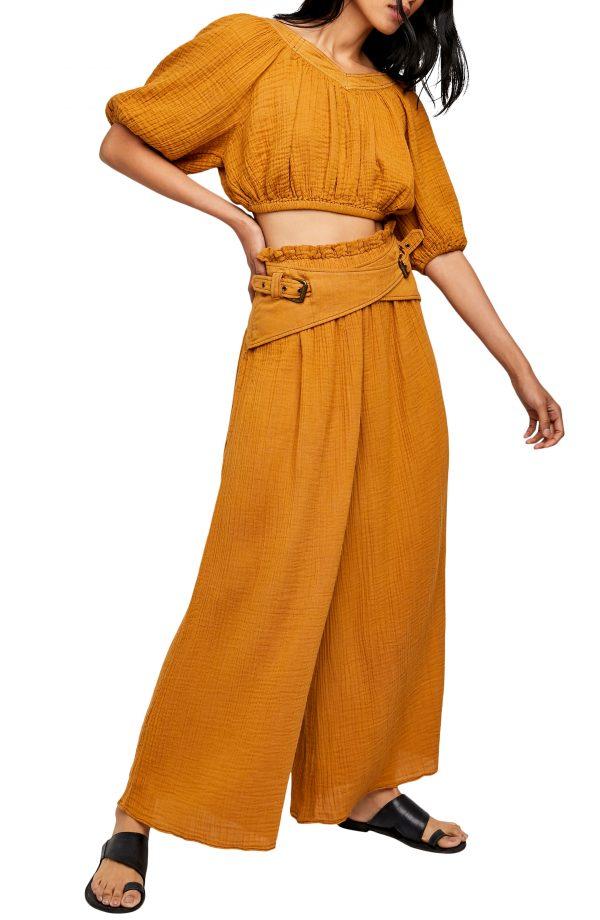 Women's Free People Lou Lou Crop Top & Palazzo Pants, Size X-Small - Yellow