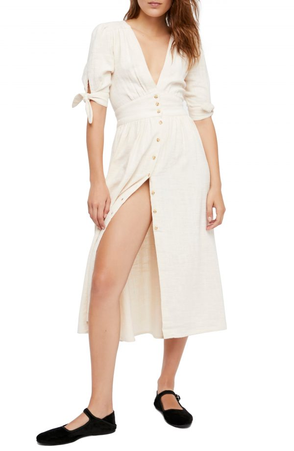 Women's Free People Love Of My Life Midi Shirtdress, Size Small - Ivory
