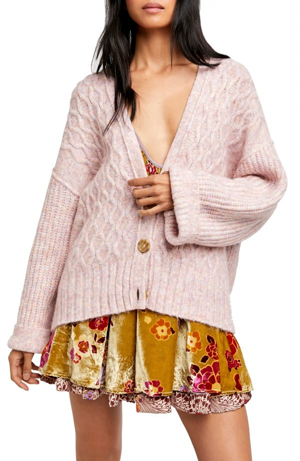 Women's Free People Molly Cable Cardigan, Size Medium - Pink