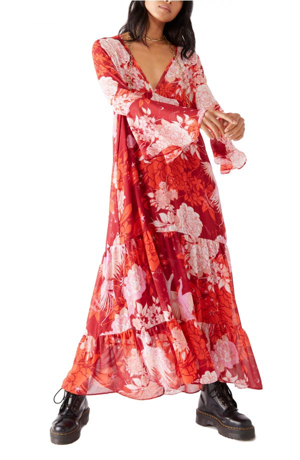 Women's Free People Moroccan Roll Floral Long Sleeve Maxi Dress, Size Small - Pink