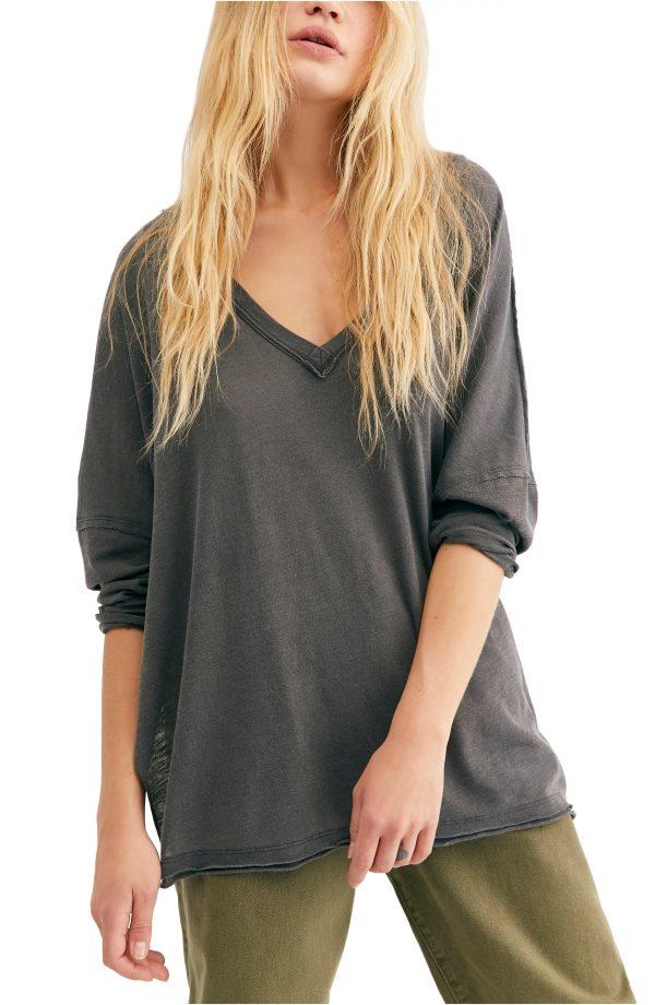 Women's Free People On My Mind V-Neck Shirt, Size X-Small - Black