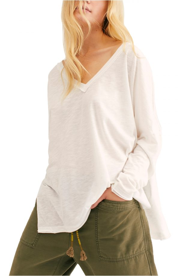 Women's Free People On My Mind V-Neck Shirt, Size X-Small - White