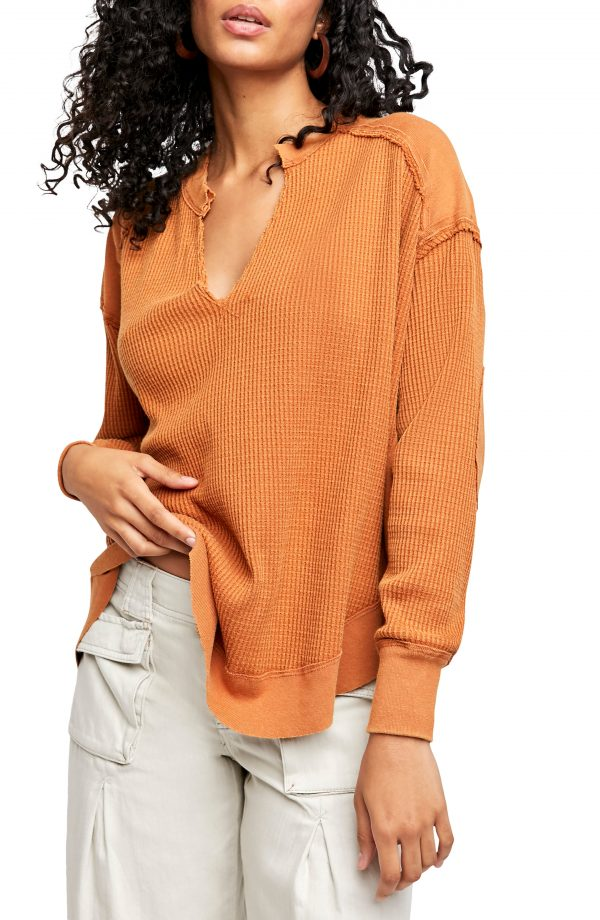 Women's Free People Owen Thermal Knit Shirt, Size Small - Brown