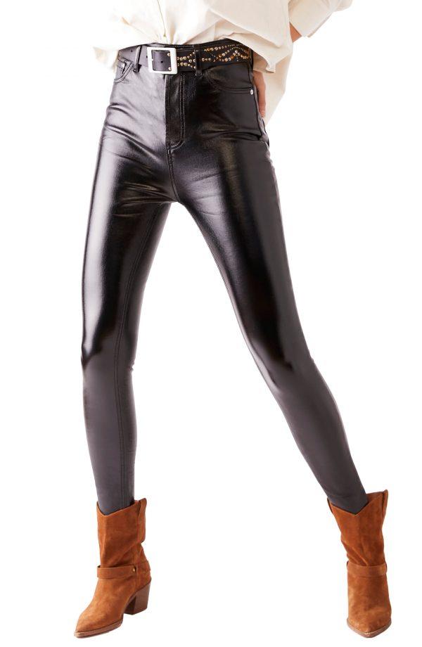 Women's Free People Phoenix Coated Ankle Skinny Jeans, Size 24 - Black