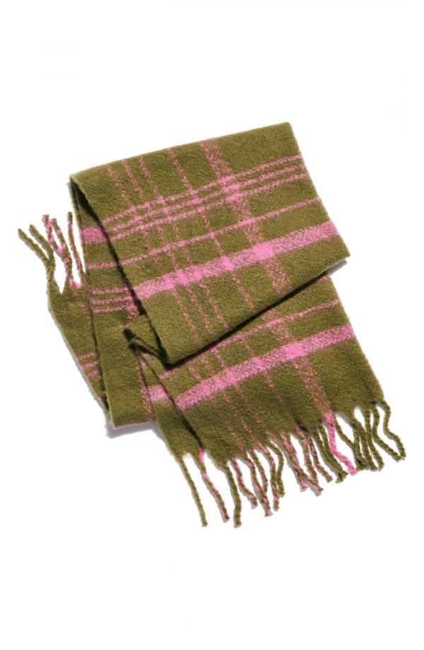 Women's Free People Prep Brushed Plaid Oversize Scarf, Size One Size - Green