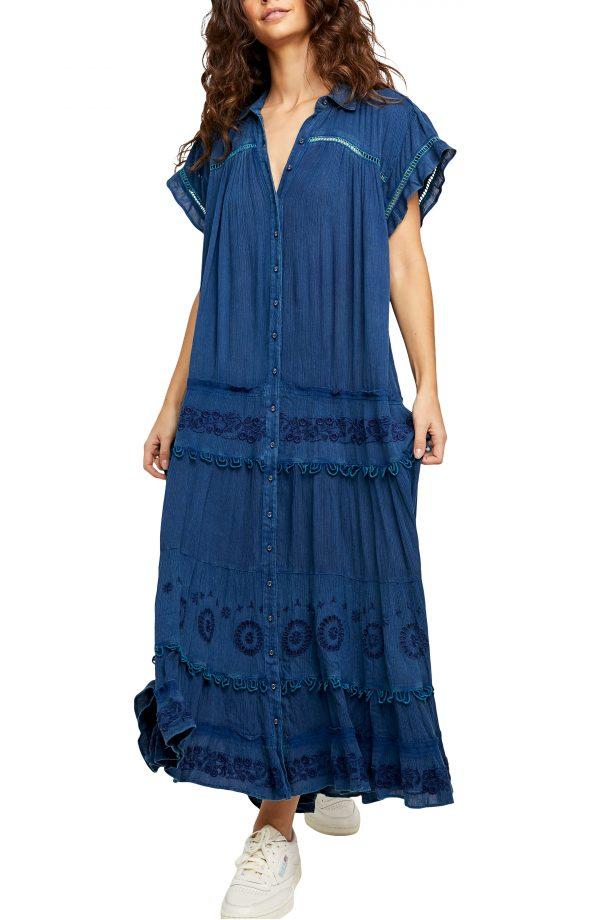 Women's Free People Pretty Cozy Maxi Dress, Size X-Small - Blue
