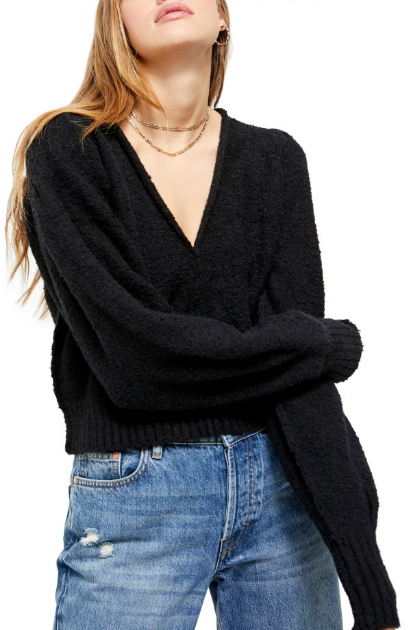 Women's Free People Reverie V-Neck Sweater, Size X-Small - Black