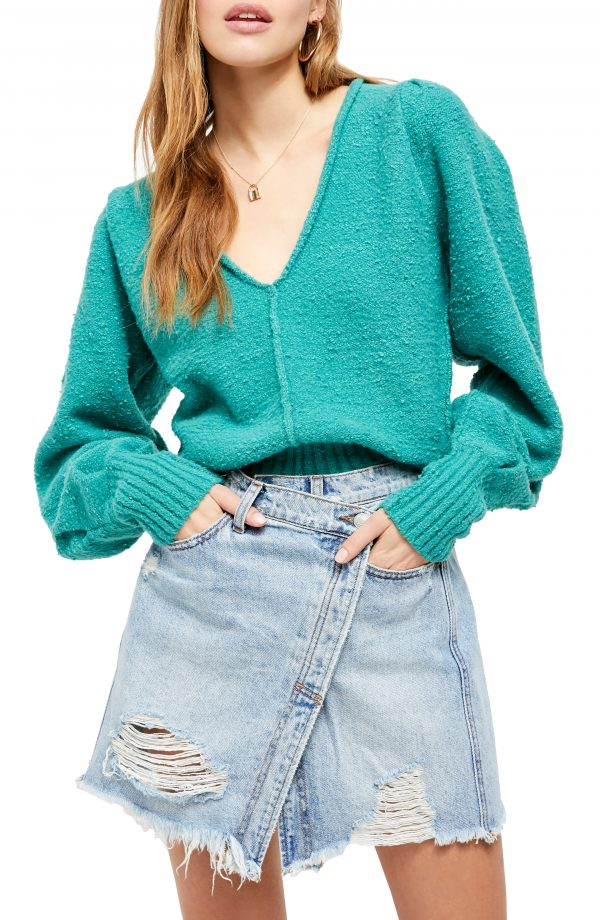 Women's Free People Reverie V-Neck Sweater, Size X-Small - Blue/green
