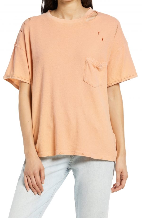 Women's Free People Rubi Ripped Pocket T-Shirt, Size Large - Coral