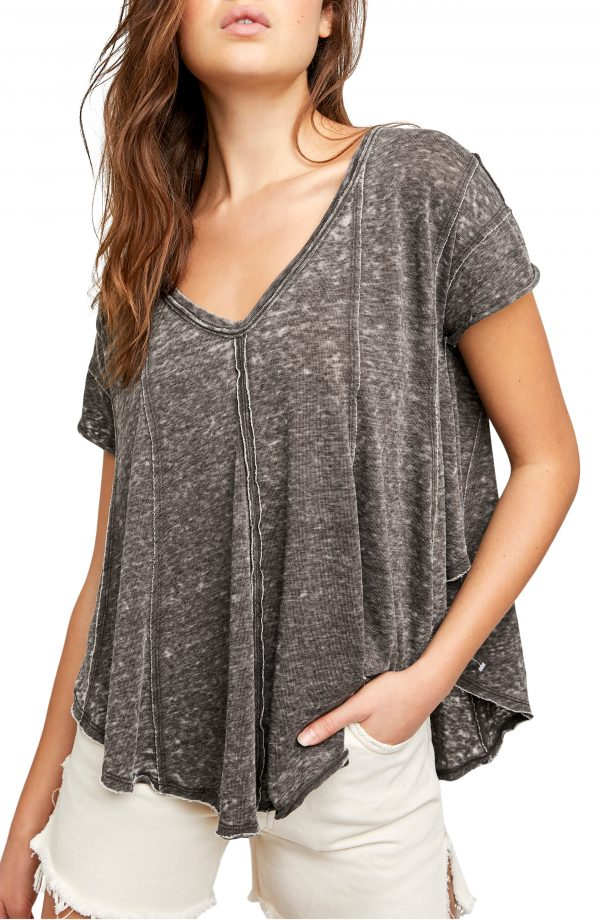 Women's Free People Sammie V-Neck Short Sleeve T-Shirt, Size X-Small - Grey