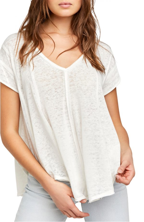 Women's Free People Sammie V-Neck Short Sleeve T-Shirt, Size X-Small - White