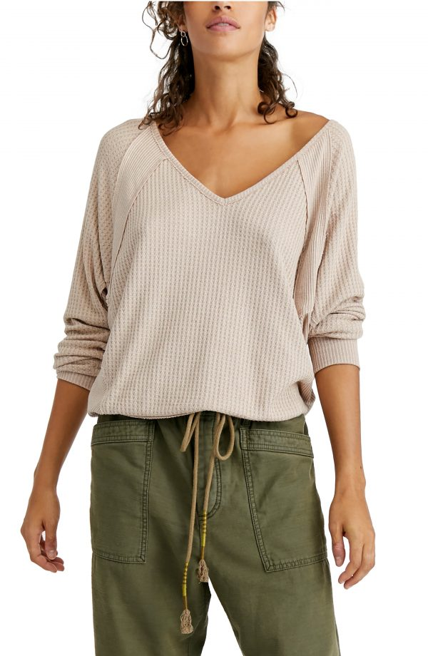 Women's Free People Santa Clara Thermal Top, Size X-Large - Beige