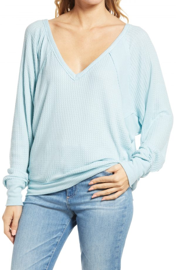 Women's Free People Santa Clara Thermal Top, Size X-Small - Blue