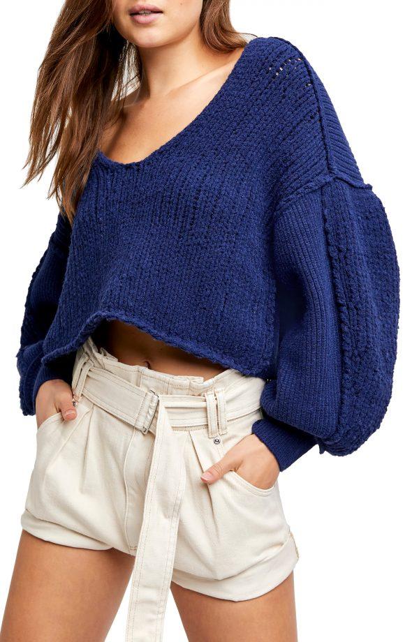 Women's Free People Sea Bright Sweater, Size X-Small - Blue