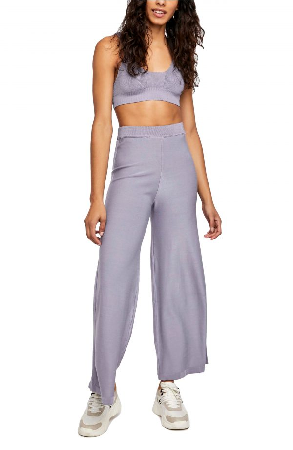 Women's Free People Show Off Cropped Tank And Pant Set, Size Large - Grey