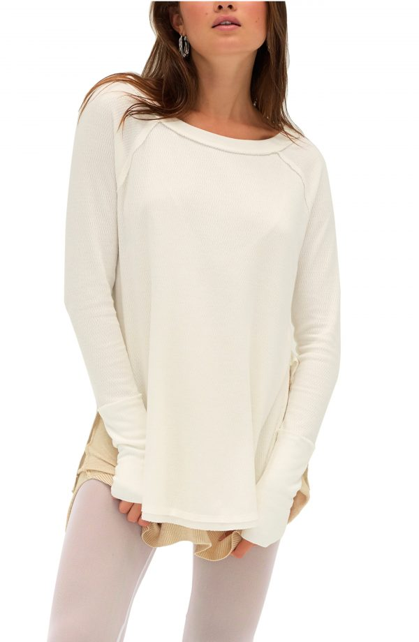 Women's Free People Snowy Thermal Shirt, Size Large - White