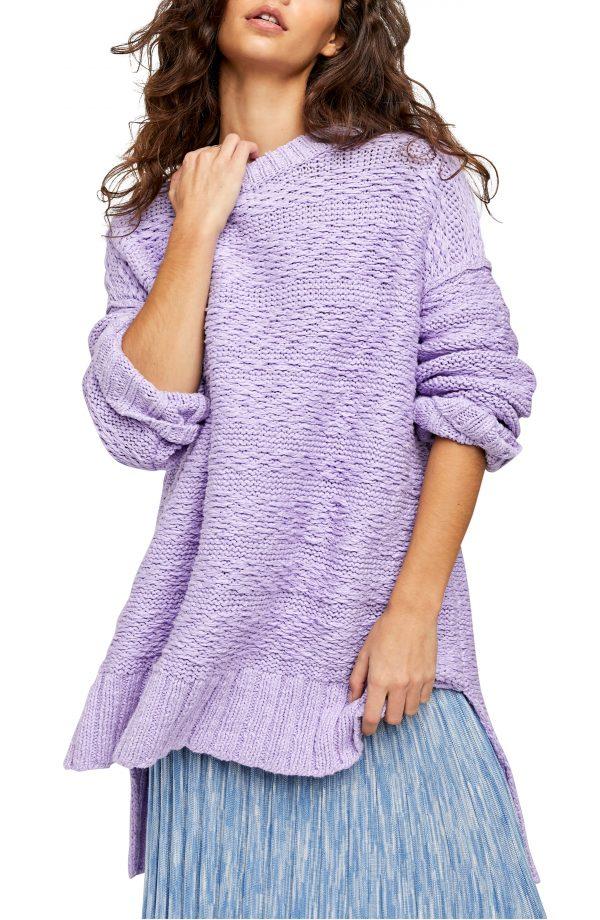 Women's Free People Sparrow Oversize Sweater, Size X-Small - Purple