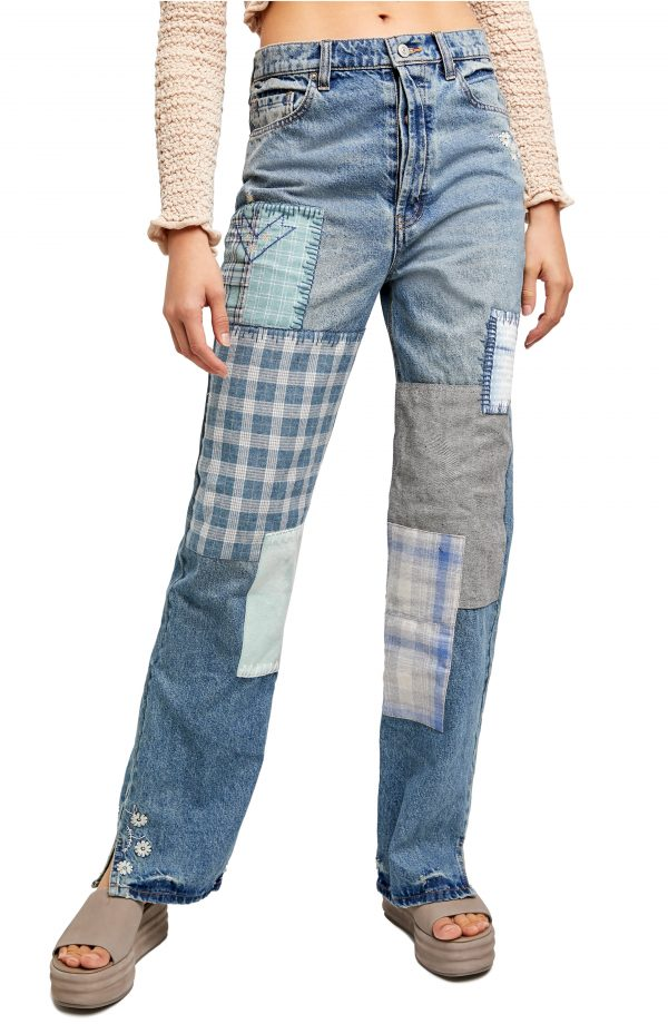Women's Free People Steinbeck Patchwork High Waist Straight Leg Jeans, Size 25 - Blue