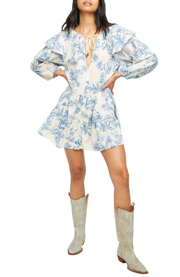Women's Free People Sunbaked Floral Long Sleeve Swing Minidress, Size X-Small - White
