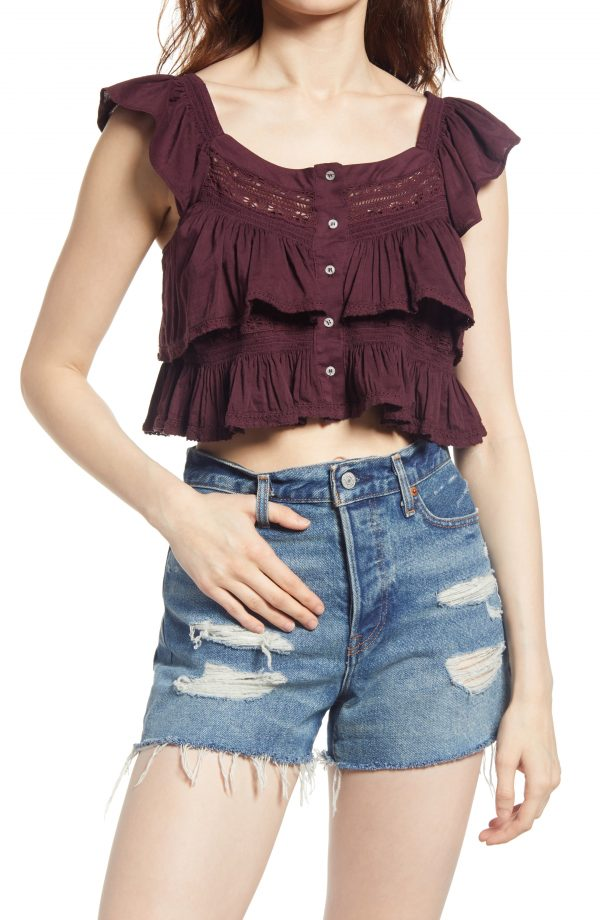Women's Free People Sunny Days Ahead Ruffle Crop Top, Size Small - Burgundy